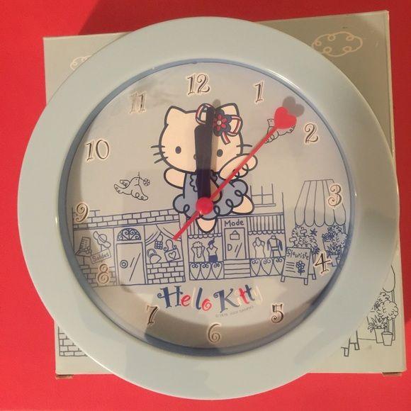 HELLO KITTY CLOCK ⏱New, Cute Kidu0027s Hello Kitty Wall Clock. Baby Blue.