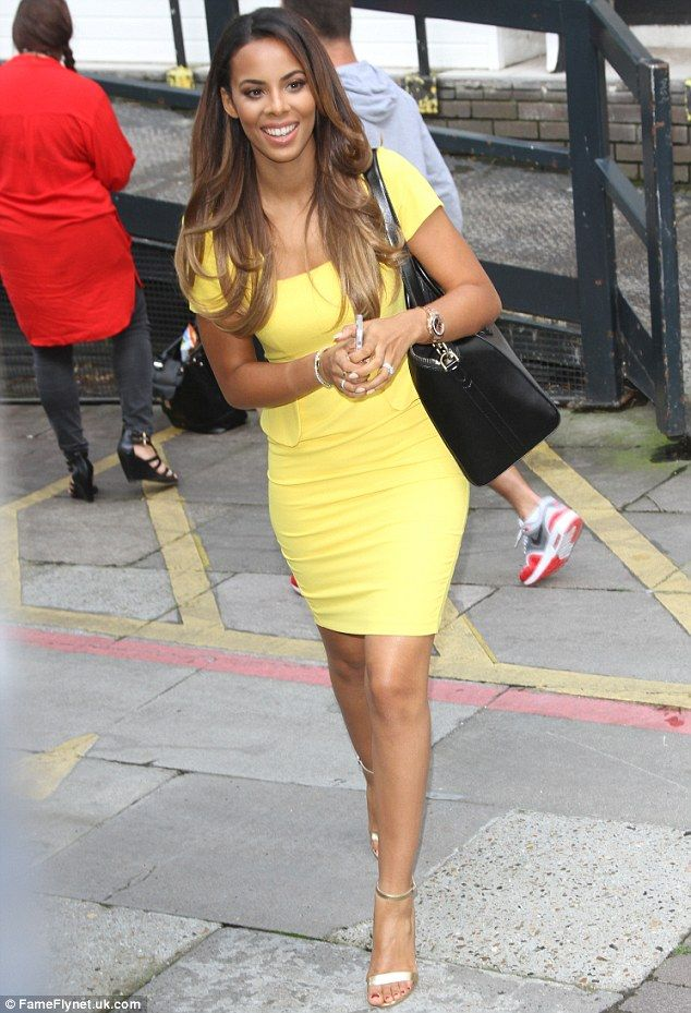 8b38924233a Mellow yellow  Rochelle Humes catches the eye in a striking lemon dress as  she leaves ITV studios on Friday