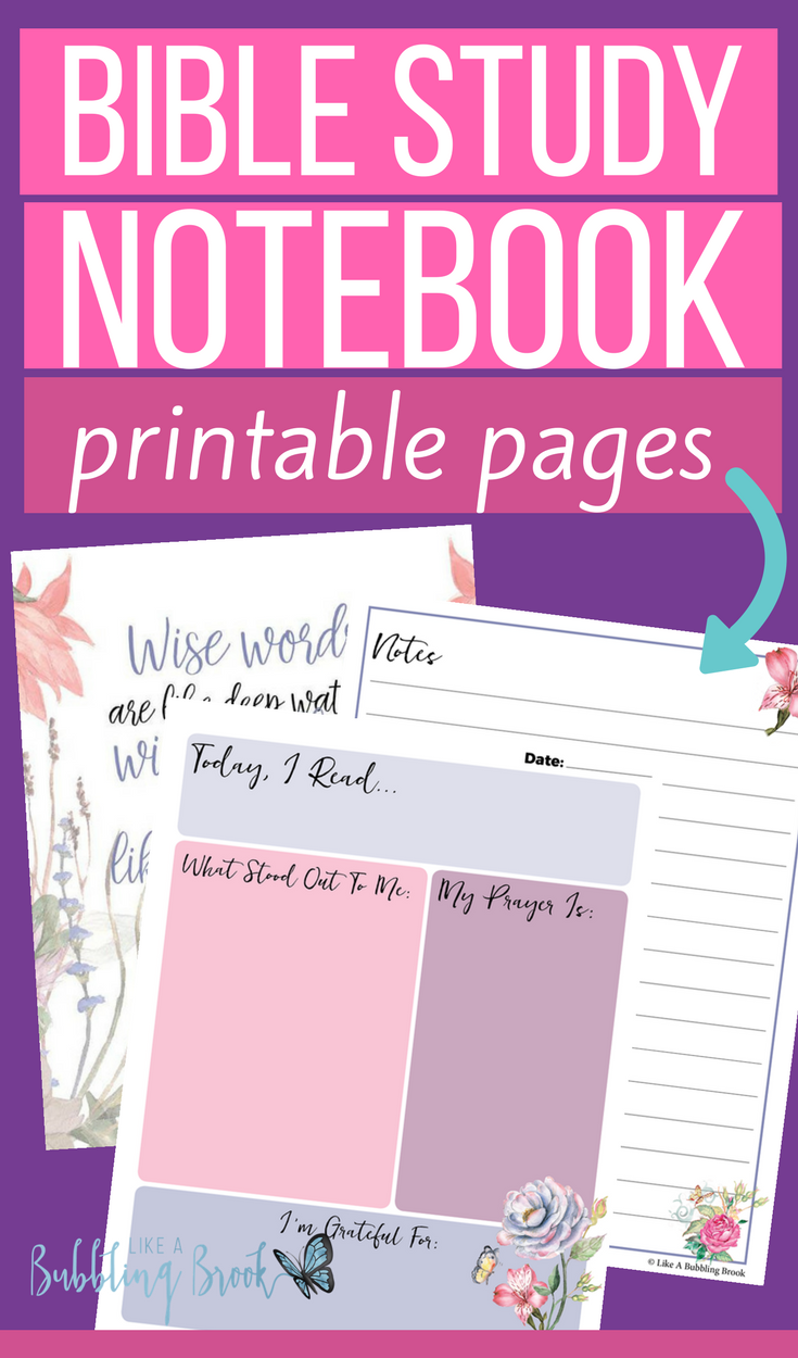 Bible Study Notebook Printable Pages Bubbling Brook Ministries Bible Study Notebook Bible Study Worksheet Bible Study