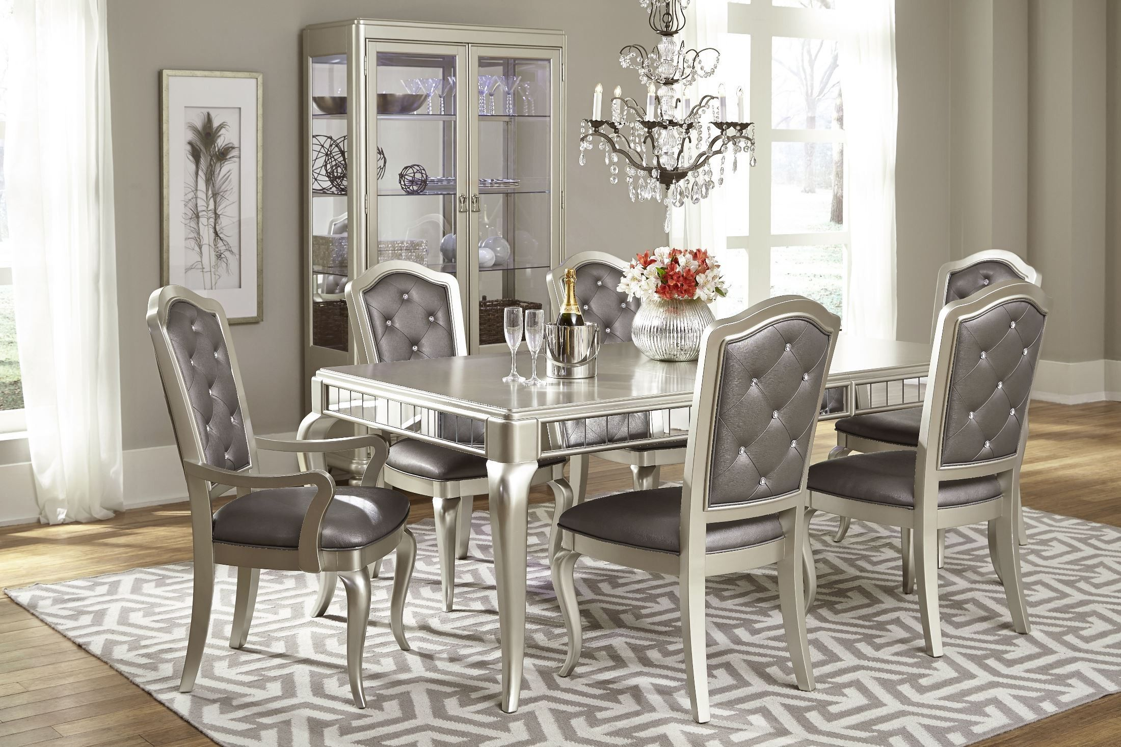 Diva Metallic Rectangular Extendable Leg Dining Table