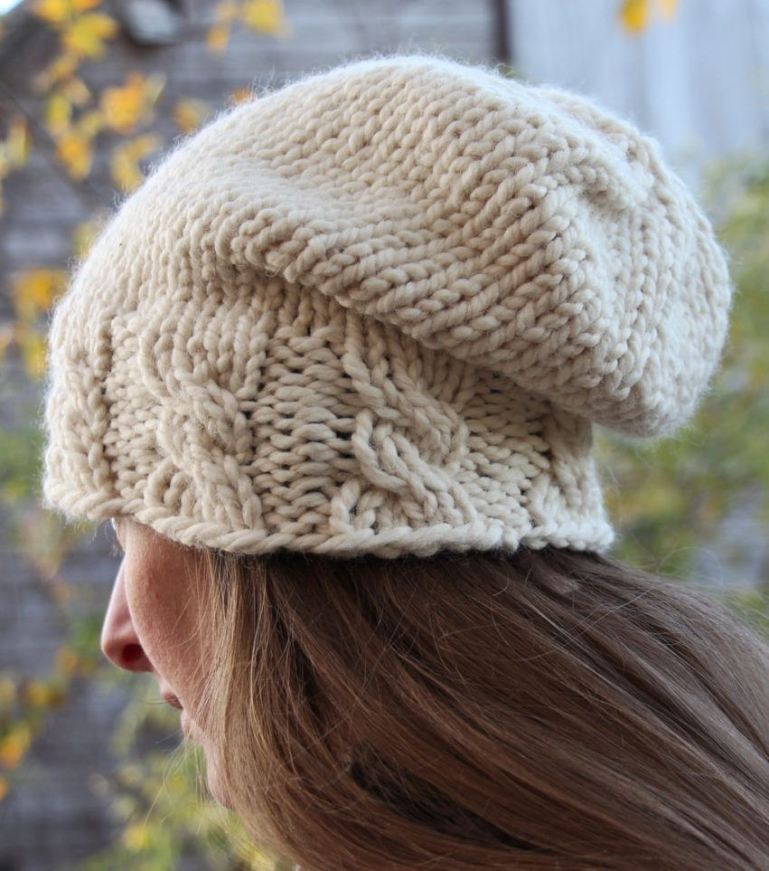 Knitting Pattern for Cable Brim Slouch Hat  1eaefea6634