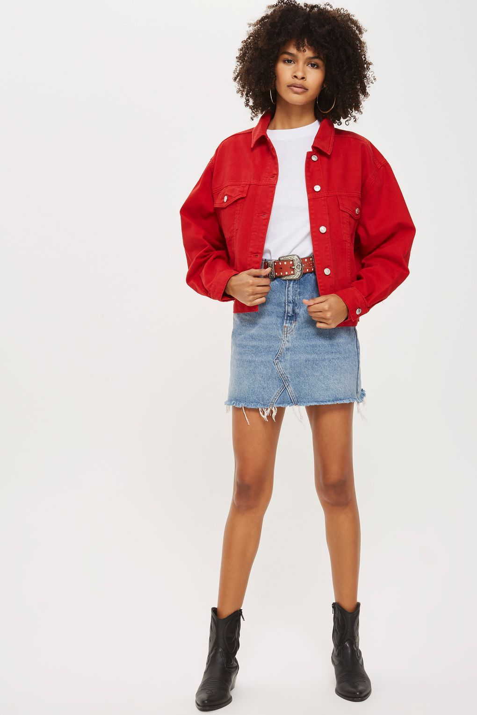 1856960b6c Oversized Denim Jacket in 2019 | Spring outfits | Coloured denim ...