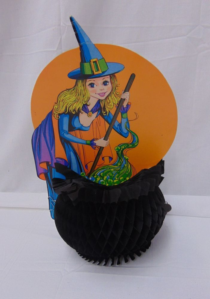 Vintage Beistle Pretty Witch with Honeycomb Tissue Cauldron - halloween decorations witch