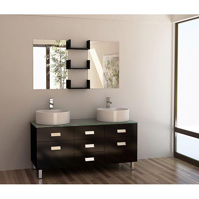 Design Element Wellington 55-inch Double Sink Bathroom Vanity Set with  Vessel Sinks by Design Element