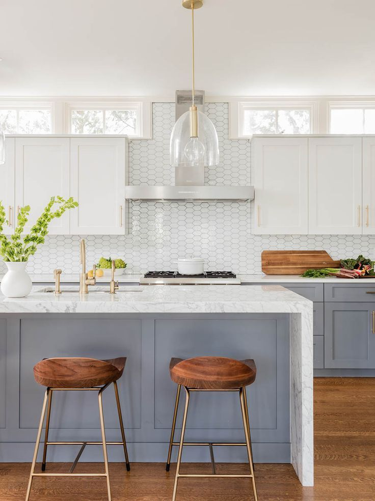 Indian Home Interior Avon Hill Cambridge - Elms Interior Design - Kitchen - Two-Tone Gray and White Cabinetry and Brass Finishes #kitchen #designideas.Indian Home Interior  Avon Hill Cambridge - Elms Interior Design - Kitchen - Two-Tone Gray and White Cabinetry and Brass Finishes #kitchen #designideas