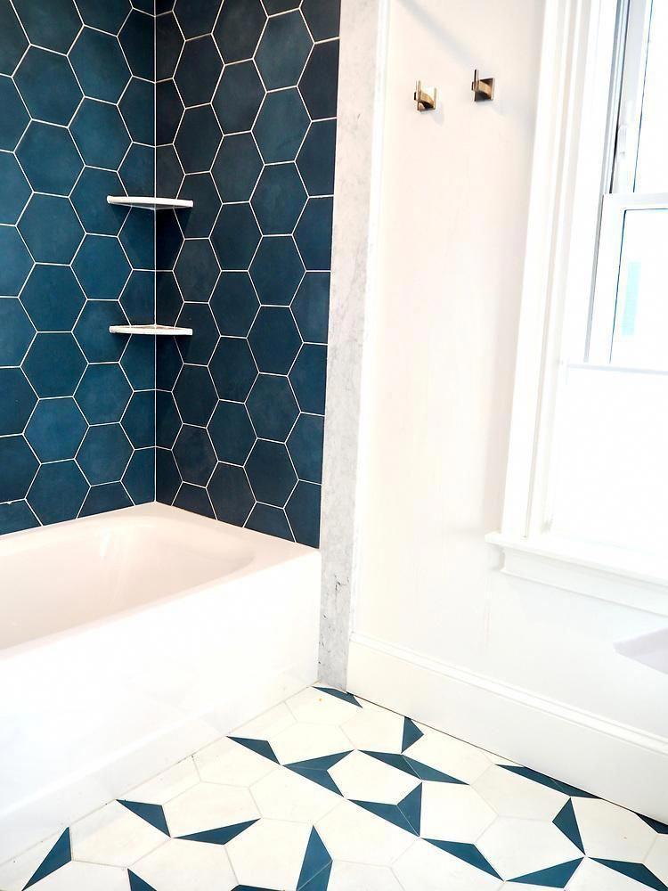 Cement Solid Federal Blue Hex 8 X9 X5 8 Bathroom Design