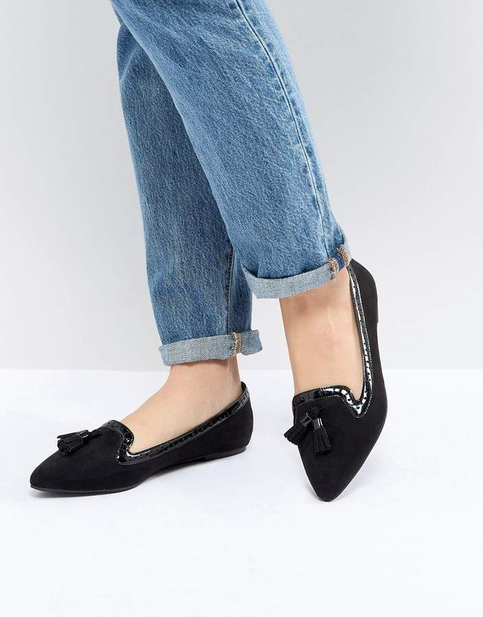 1a62c1bad29 Asos DESIGN Locker Pointed Loafer Ballet Flats