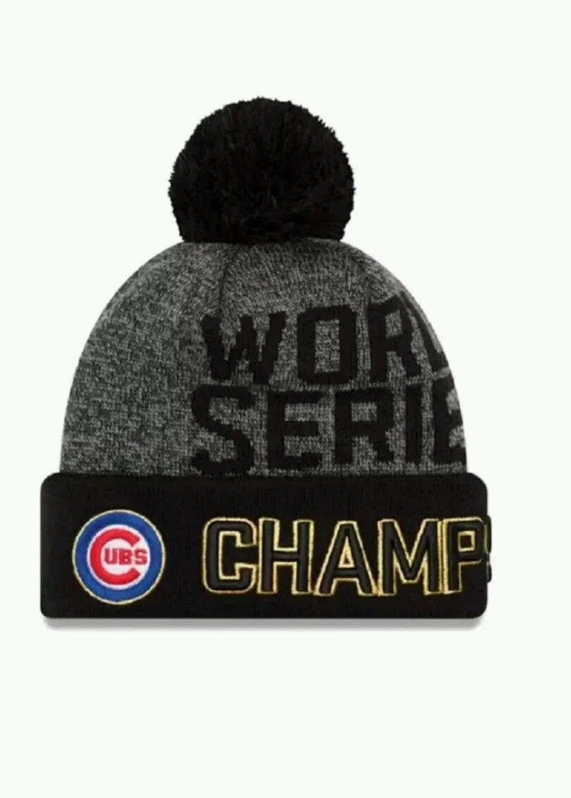b21d11b79d854 Chicago Cubs 2016 World Series Champions Champs Beanie New Era POM HAT PUFF  VHTF