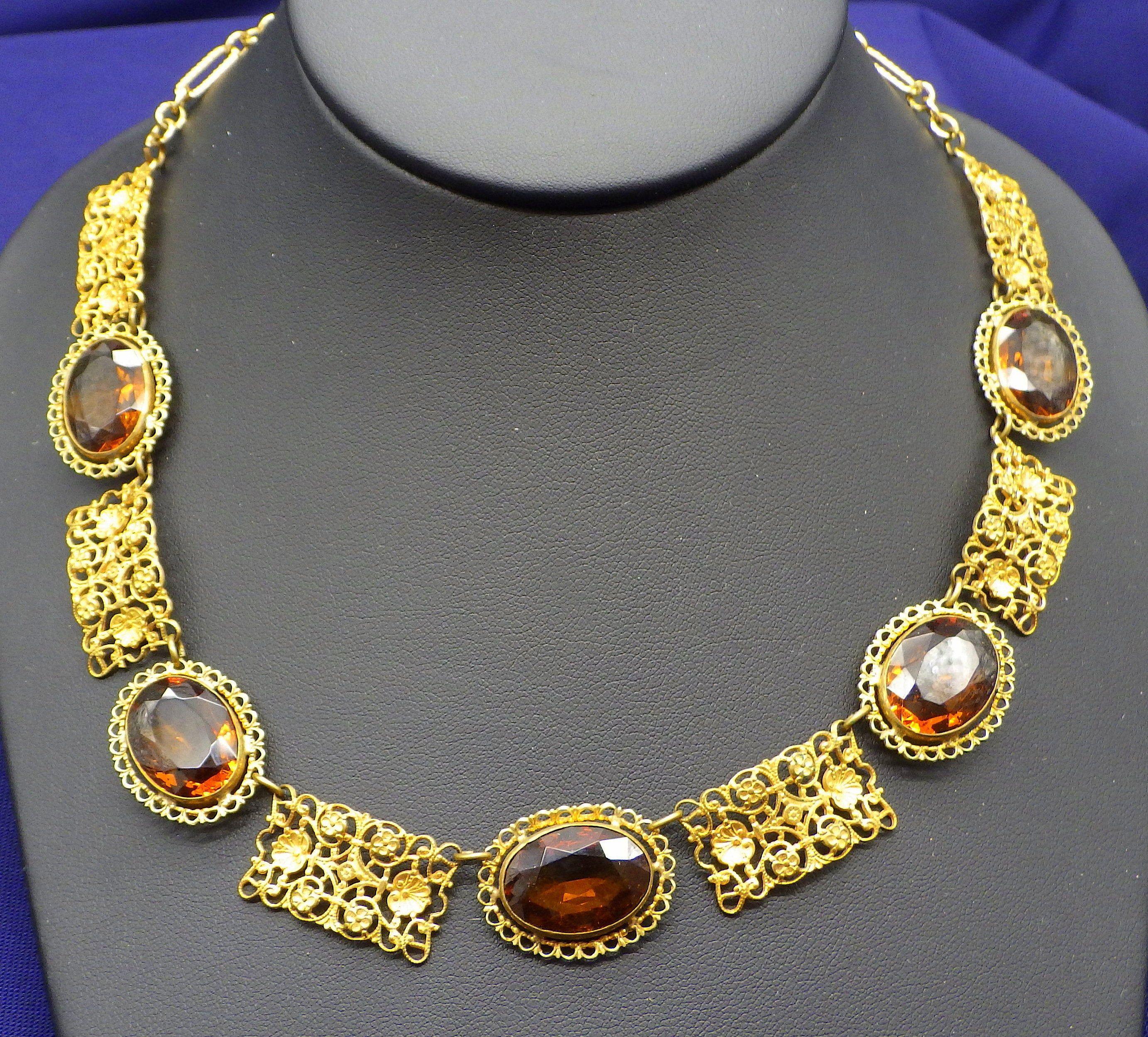 Photo of Victorian Revival Choker Vintage 1940 Golden Topaz Facettierte Halskette mit filigranem November Geburtsstein Choker Facettierte Steine Vintage Halskette