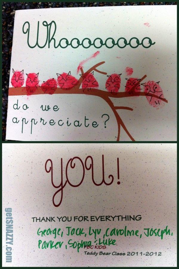 Teacher Appreciation - Whoooooo do we appreciate? Owl Thank You Card - copy business letter appreciation thank you