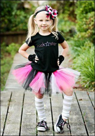 80s Costume Bambina Rock Diva Chick Kids Rockstar Outfit