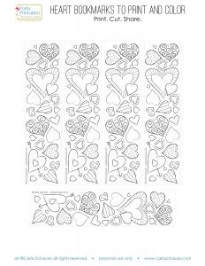 Valentine Heart Bookmarks to Print and Color  Kirjanmerkit