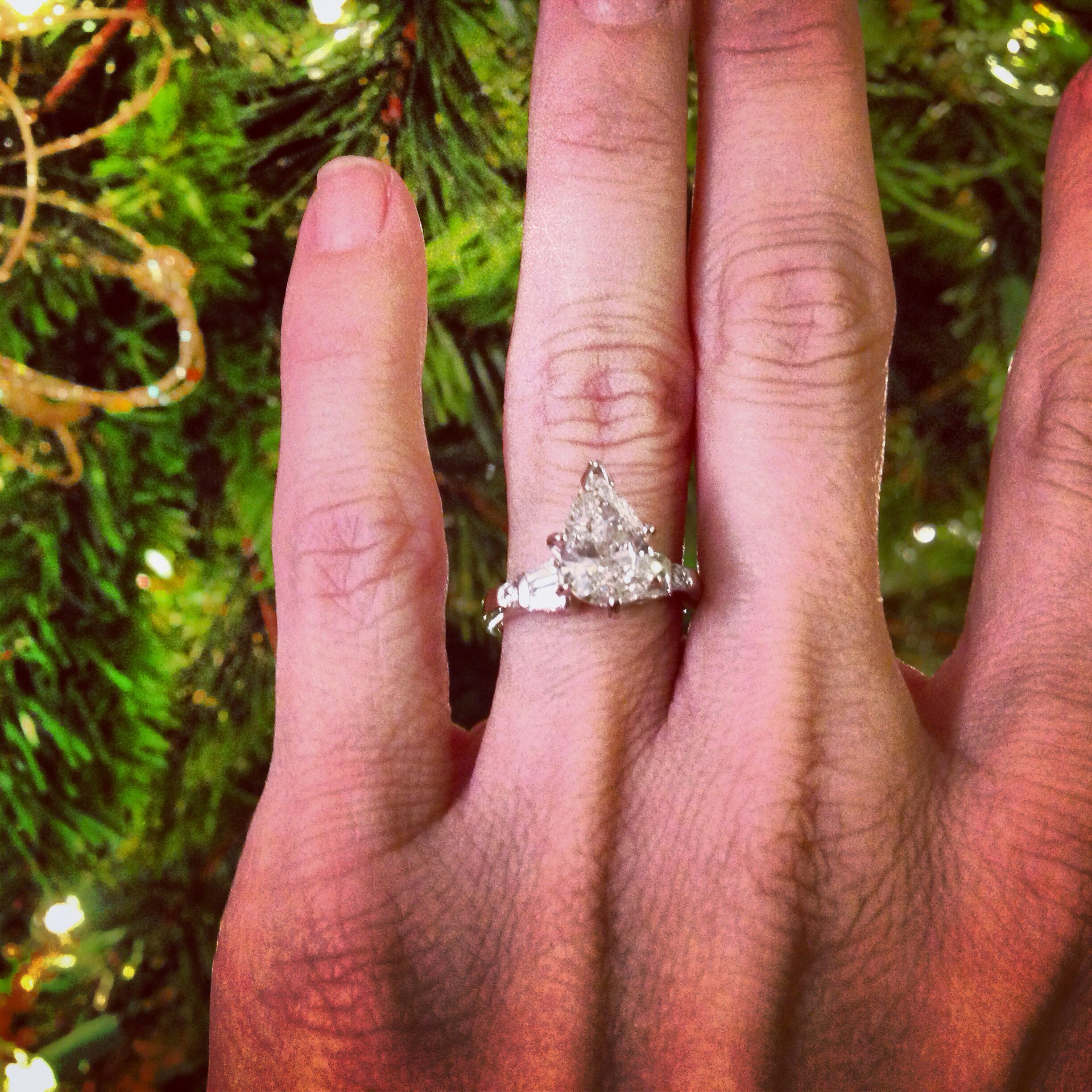 My pear diamond engagement ring in petite setting with side ...