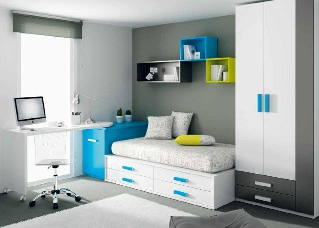 am nagement fonctionnel et d co chambre gar on moderne chambre gris et bleu pinterest. Black Bedroom Furniture Sets. Home Design Ideas
