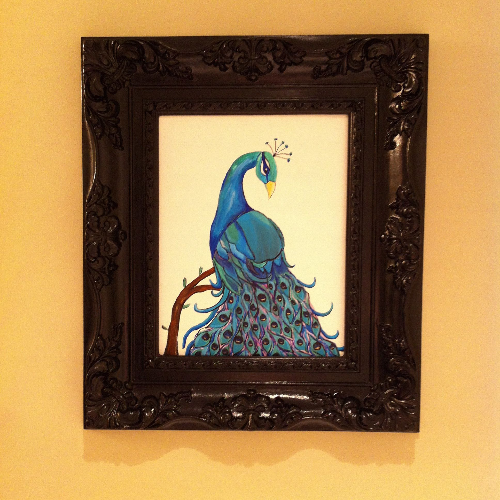 Peacock painting with black frame