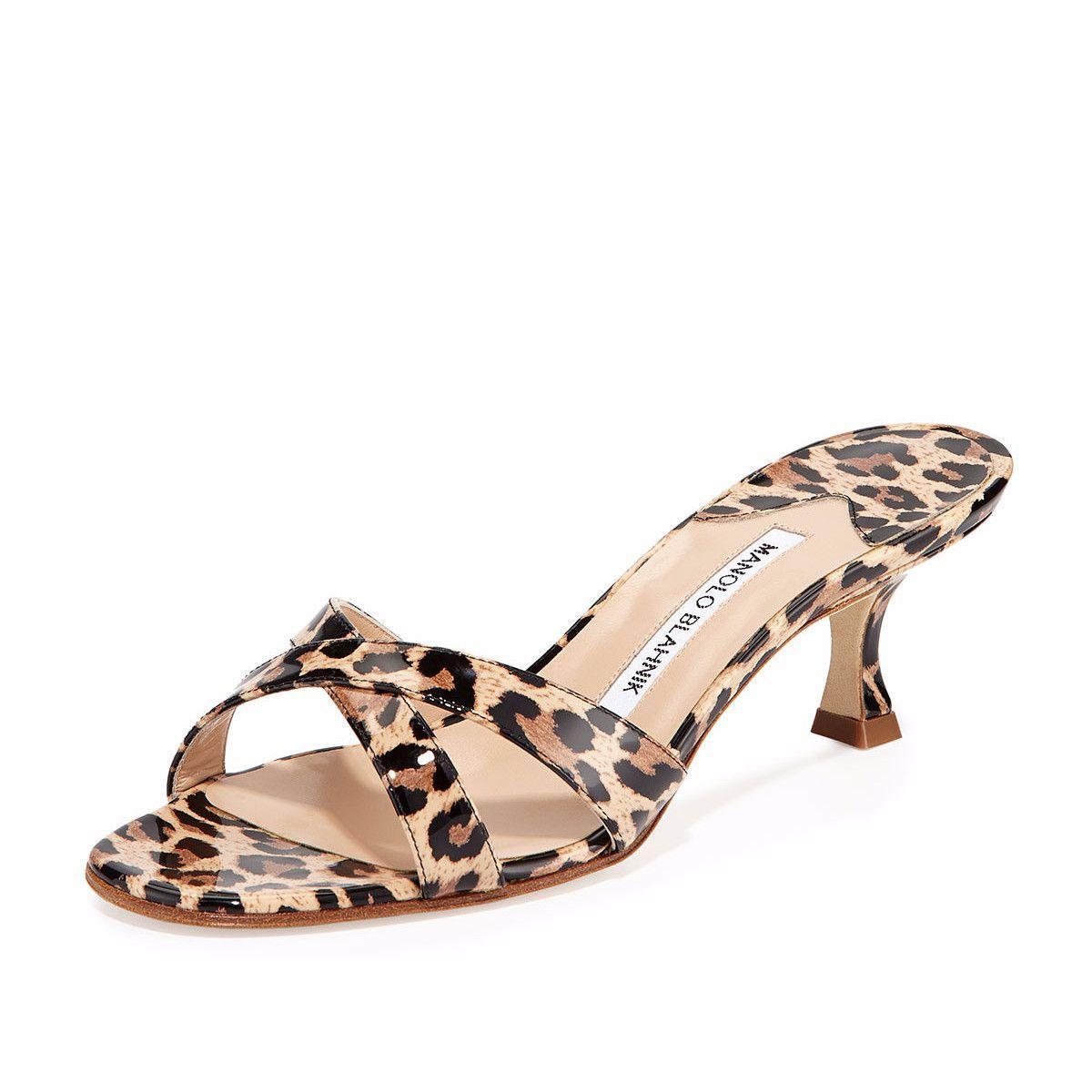 Calamu Leopard Kitten Heel Slides Wedding Shoes Low Heel Trendy Shoes Heels