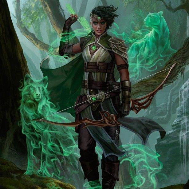 Brunette Female Human Arcane Archer Bow Arrows Quiver Ranger Fighter Spirit  Animals - Pathfinder PFRPG DND D&D d… | Fantasy character design, Character  art, Mtg art