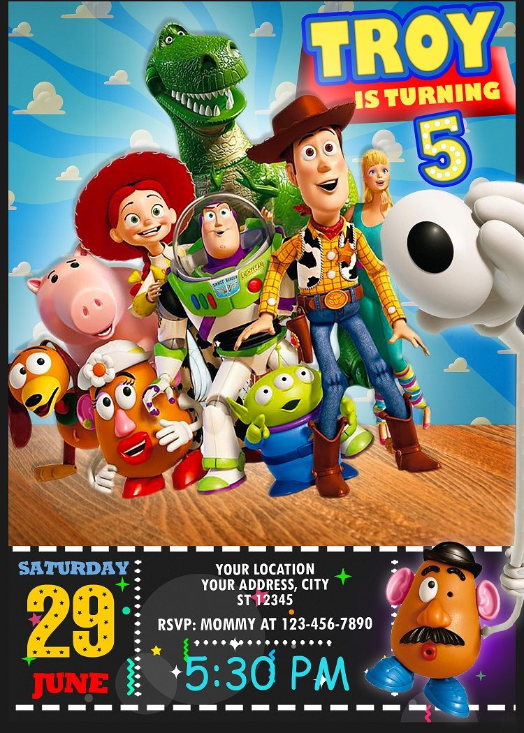 TOY STORY 4 WOODY FORKY Birthday party invitations personalized custom