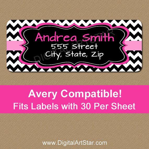 Printable Pink  Black Chevron Address Labels - Editable Return