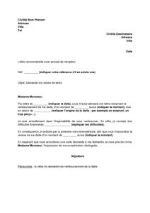 Modèle de lettre de demande de remise de dette | Documentissime | Lettres types… | Modèles de ...