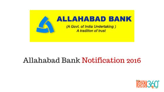 Allahabad Bank Notification 2016