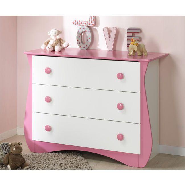 C moda con 3 cajones doudou rosa para ni a habitaciones - Mobiliario habitacion bebe ...