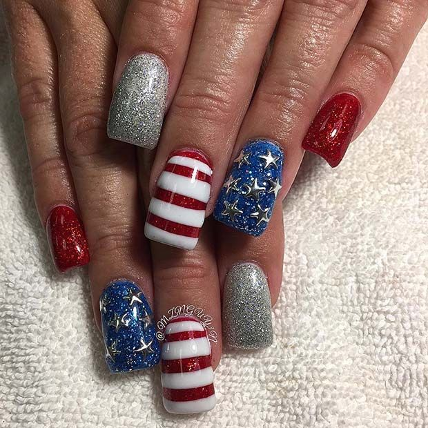 21 Funky and Fun 4th Of July Nail Designs   Chalkboard nails ...