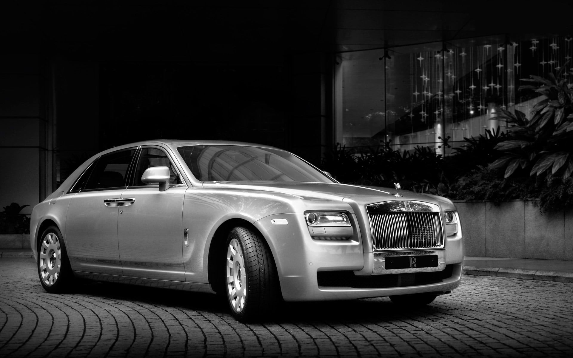 Grayscale Photo Of Mercedes Benz Sedan Rolls Royce Twilight Ghost Sedan The Front Rolls Royce Gost 1080p Wallpape In 2020 Mercedes Benz Sedan Rolls Royce Sedan