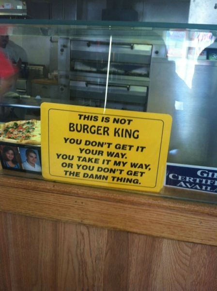 Funny Board At Burger Shop