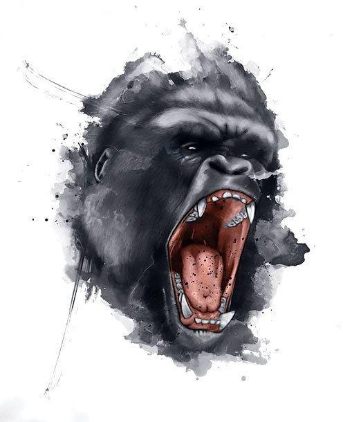 dcf904f43 Tattoo Designs Best Gorilla Face   tats   Gorilla tattoo, Monkey ...