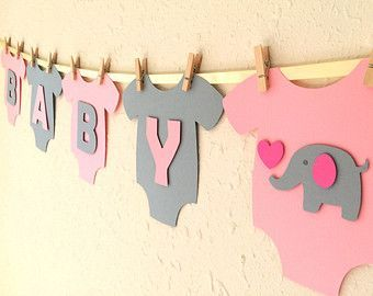 Items similar to Baby One-Piece Bodysuit BABY GIRL Baby Shower Banner: Pink and Green Baby Girl Shower Decoration on Etsy #ribbonart