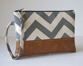 Chevron Wristlet Wallet, iPhone wallet, Vegan Leather Clutch Purse, Cellphone Wristlet, Padded Zipper Pouch, Boho Clutch,Gift For Her
