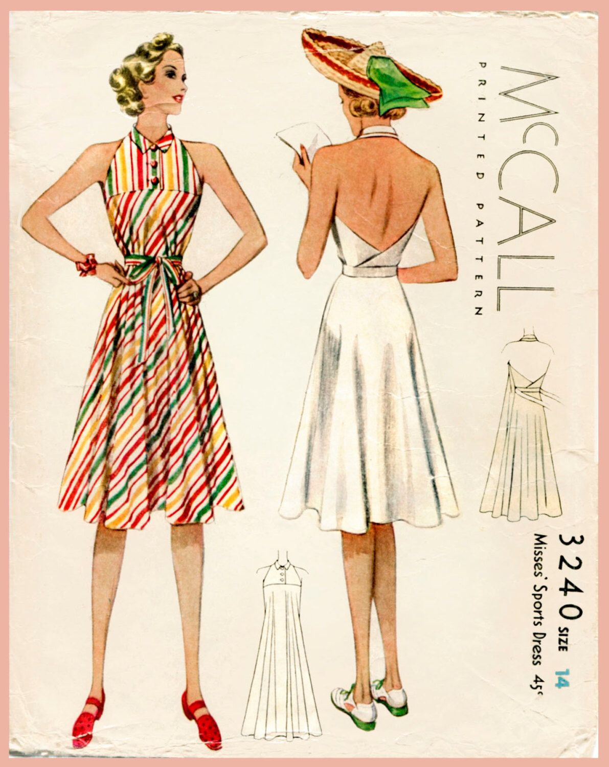 1930s 30s vintage womens sewing pattern halter dress beach wrap 1930s 30s vintage womens sewing pattern halter dress beach wrap skirt bust 32 b32 reproduction english jeuxipadfo Image collections