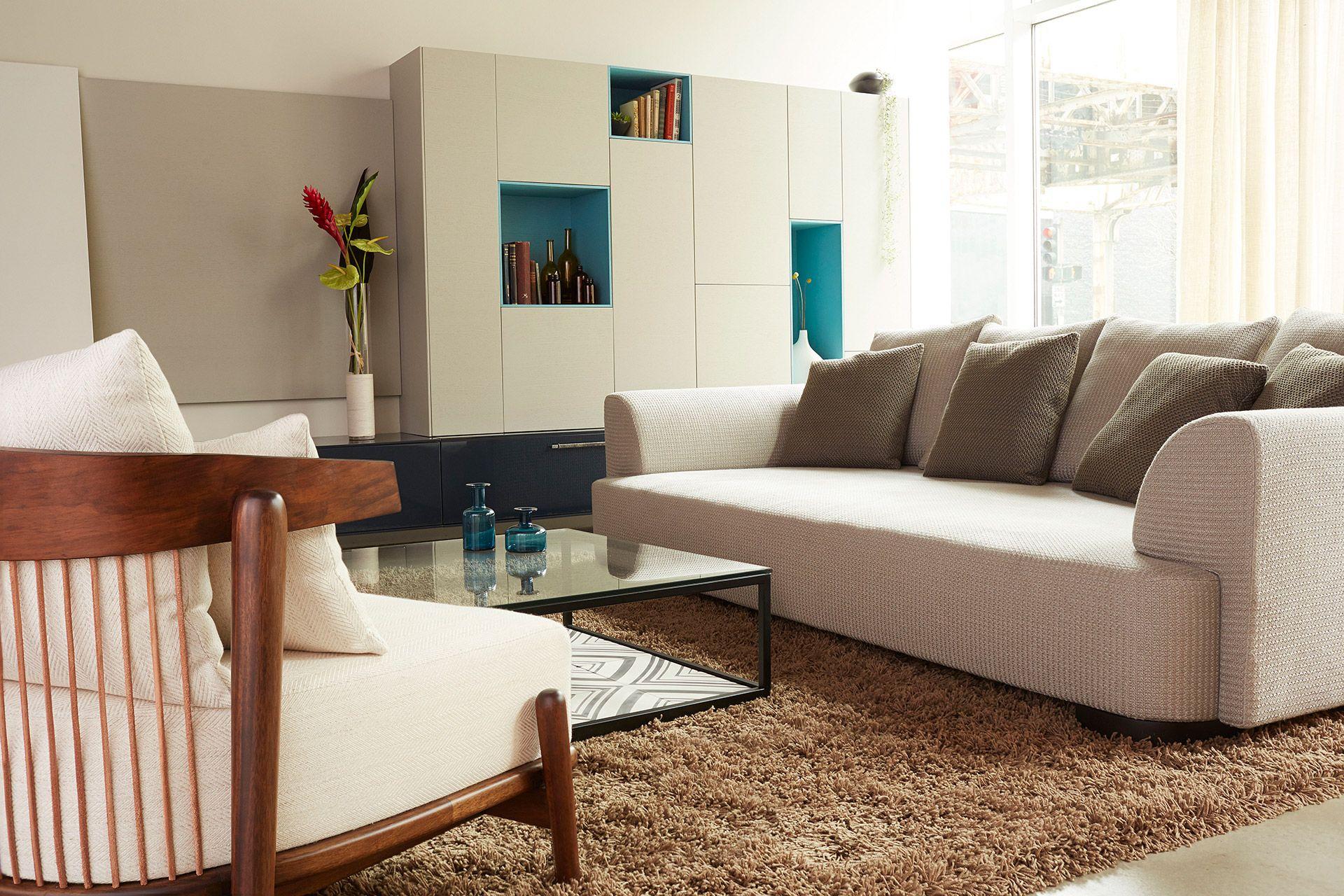 Florense Vice Versa wall unit Astor sofa Lidoca chair and Tile