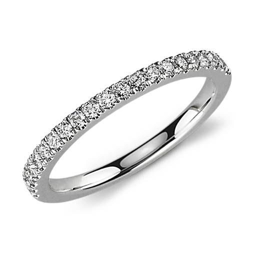 Petite Pave Diamond Ring In Platinum 1 3 Ct Tw Eternity Ring