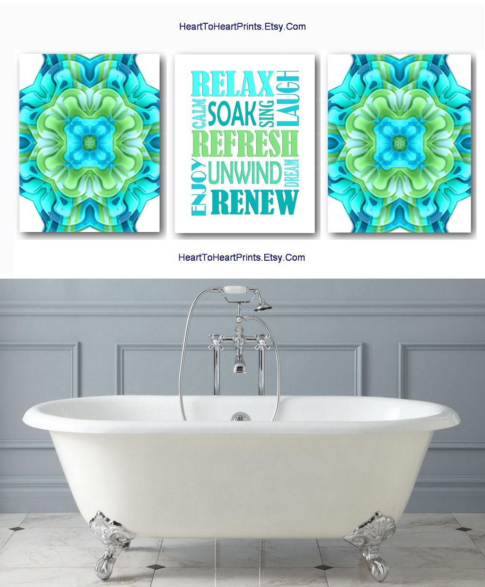 Bathroom Set Of 3 Prints Bathroom Wall Decor Lime Teal Turquoise Green Bathroom Wall Art Bath Quote Downloa Bath Wall Art Bathroom Art Prints Bathroom Wall Art