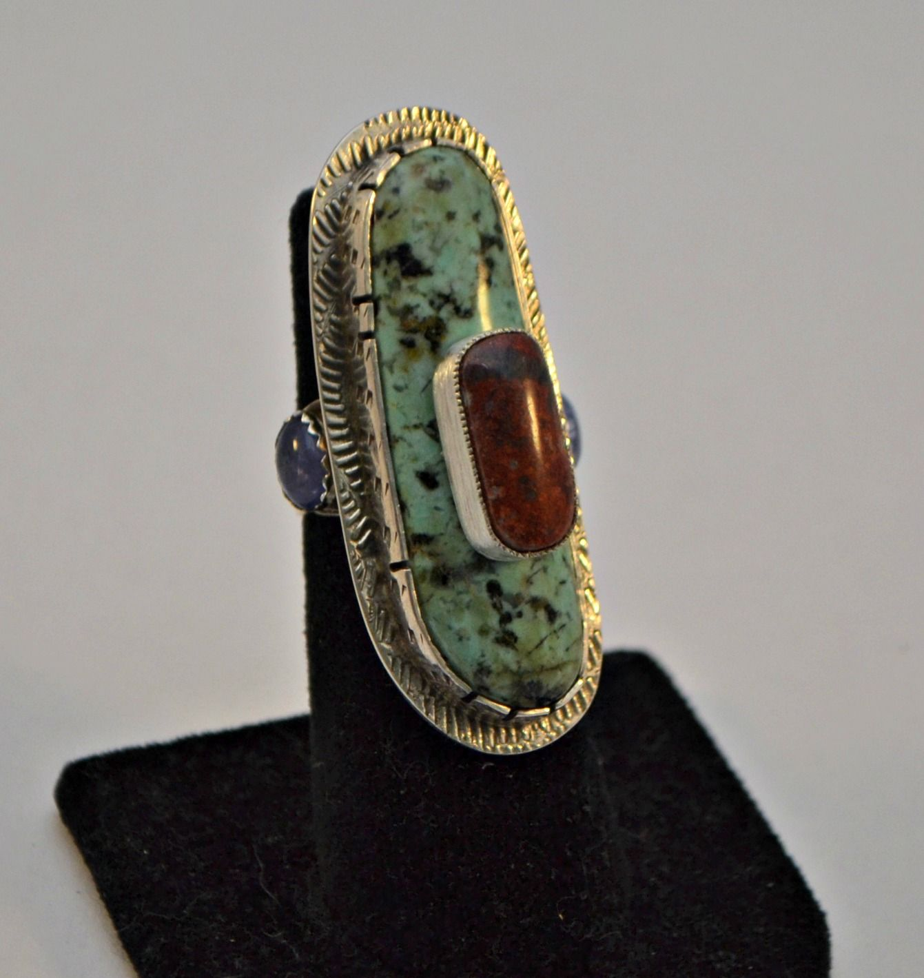 Jeff Fulkerson Sterling silver, African Turquoise, Sonoran Sunrise & Tanzanite ring