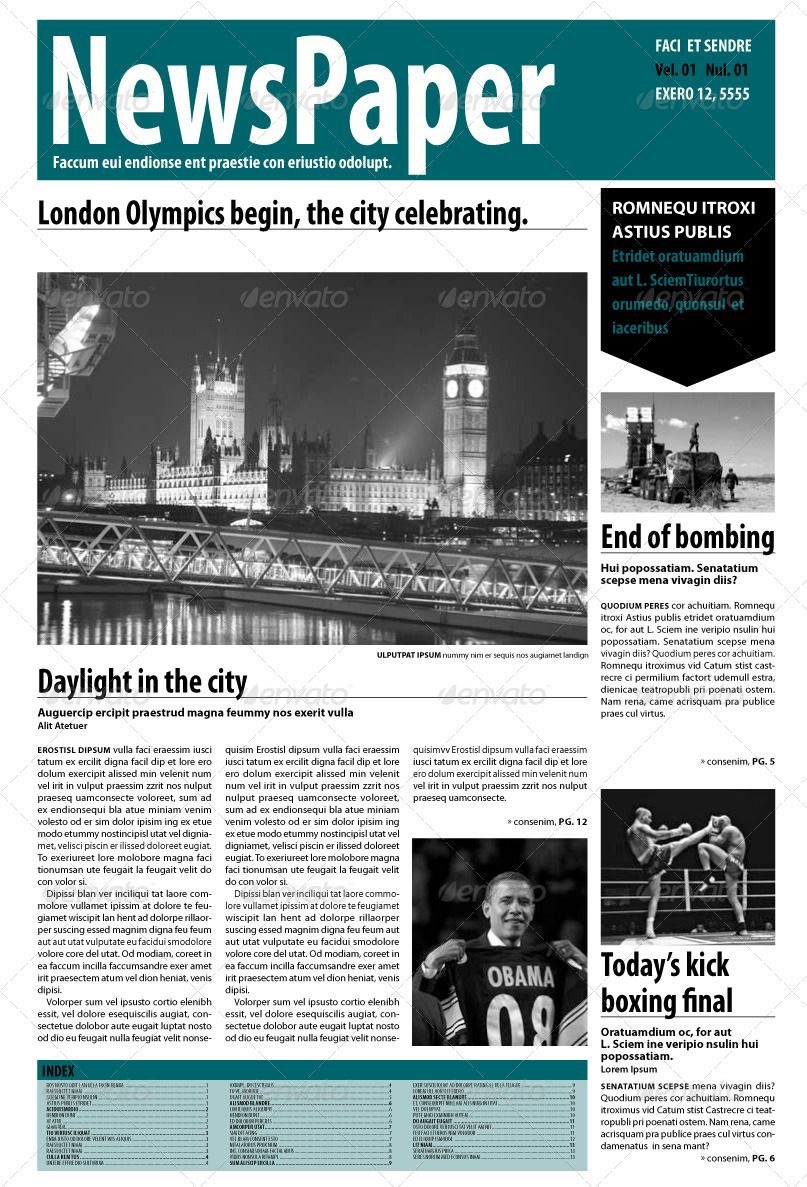 InDesign Newspaper 14 Pages | Newspaper and Print templates