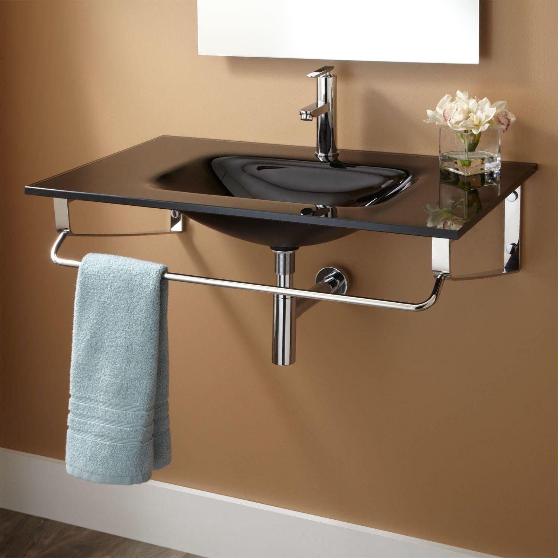 Yesler Wall Mount Glass Sink Wall Mounted Bathroom Sinks Glass Sink Washbasin Design