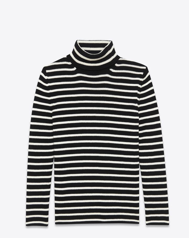 saintlaurent, Turtleneck Sweater in Black and Ivory Striped Cotton ...