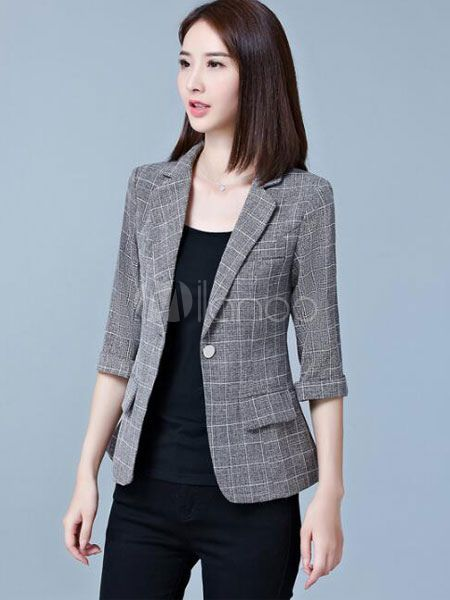 96ac773e45266 Americanas mujer de algodón mezclado blazer de cuello vuelto con dibujo de  cuadros con bolsillos estilo moderno Blazer