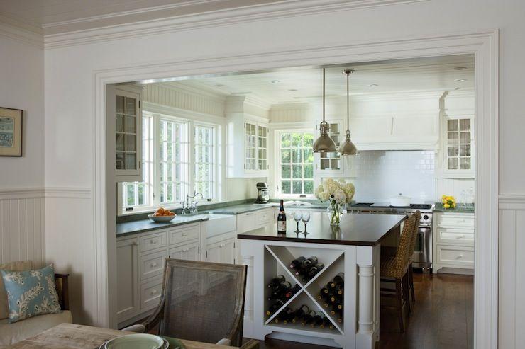 White Kitchen Beadboard Backsplash Island Details With Images Built In Wine Rack Cottage Kitchen Kitchen Renovation