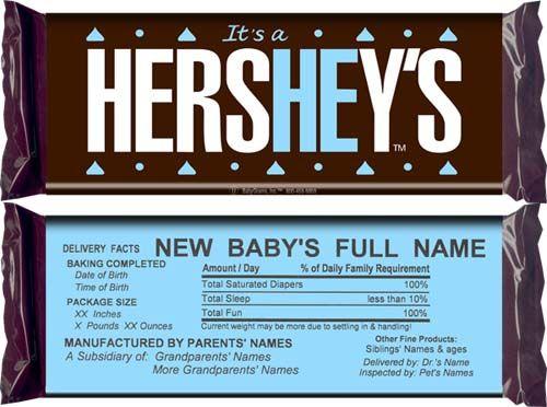 Hershey Bar Birth Announcement Baby Boy Birth Announcement Birth Announcement Boy Birth Announcement