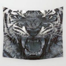 Tiger Roar! - By Julio Lucas Wall Tapestry