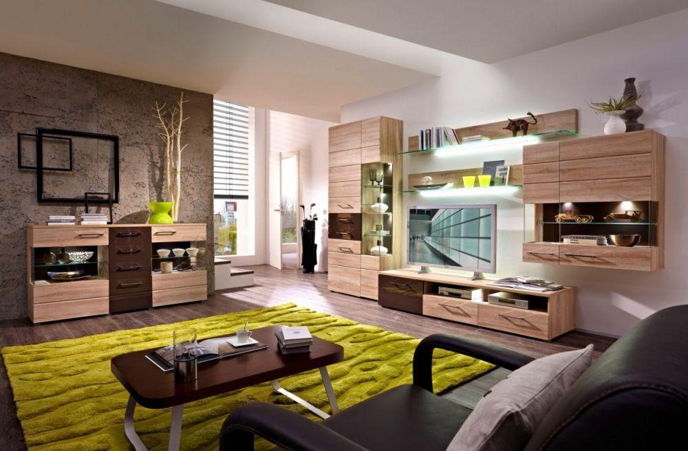 JASMINA Wohnwand I Sonoma Eiche hell\/braun Neue Wohnung - wohnzimmer braun weis grun