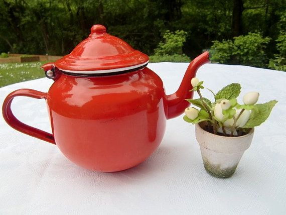 French vintage red enamel kettle, antique enamel teapot enameled