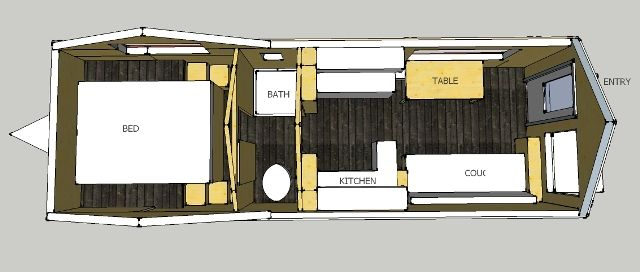 Tiny House Floor Plans Trailer tiny house mod plan- on goose-neck trailer with storage stairs to