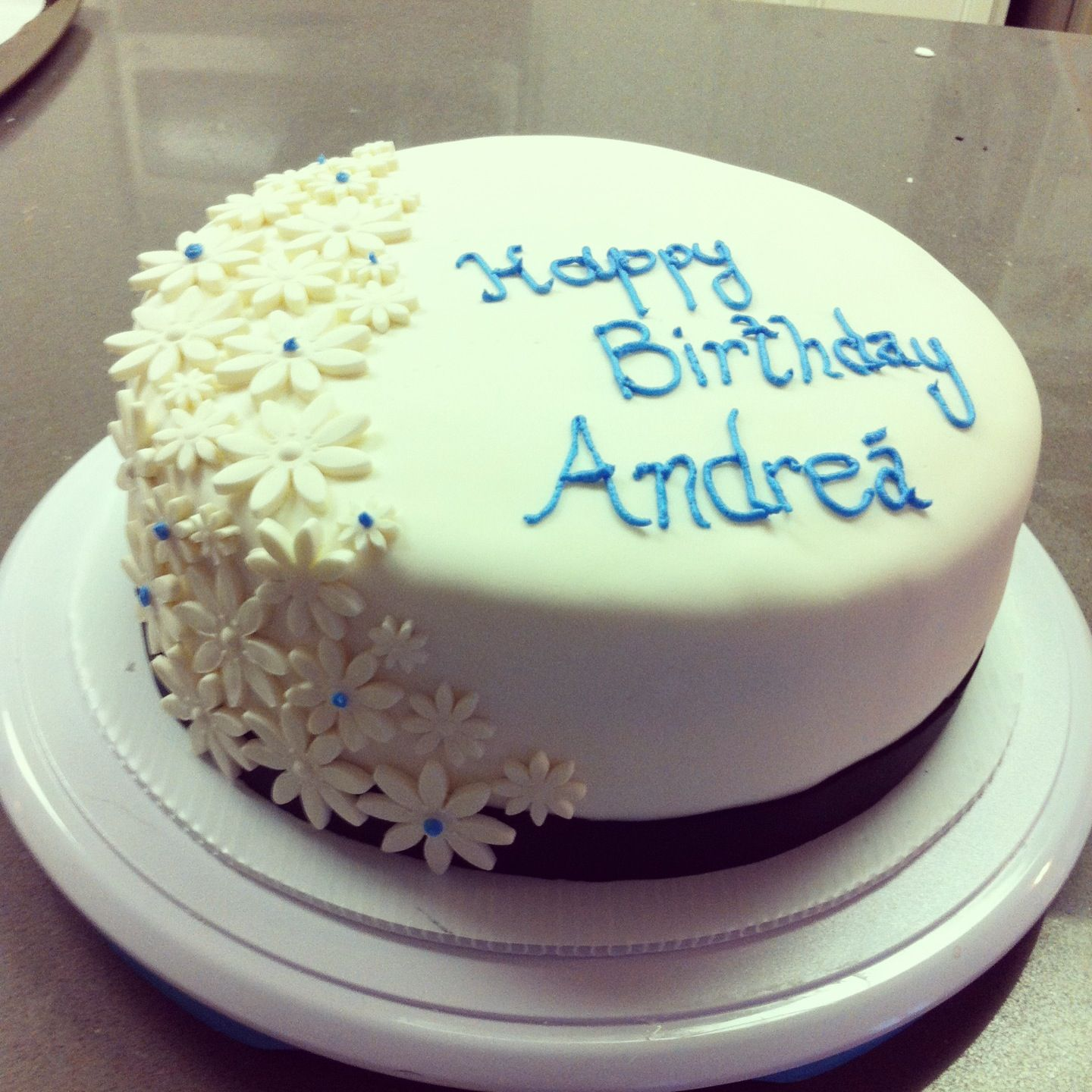 Simple Elegant Birthday Cake White With Vanilla Buttercream Filling Rolled Fondant Covering Gum Paste Flower Decorations