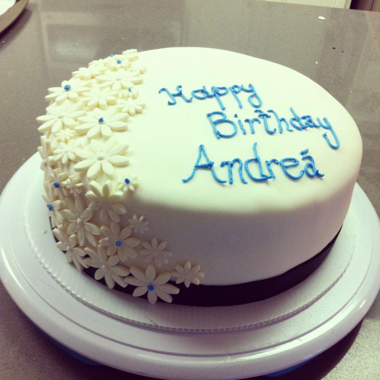 Simple elegant birthday cake White cake with vanilla buttercream