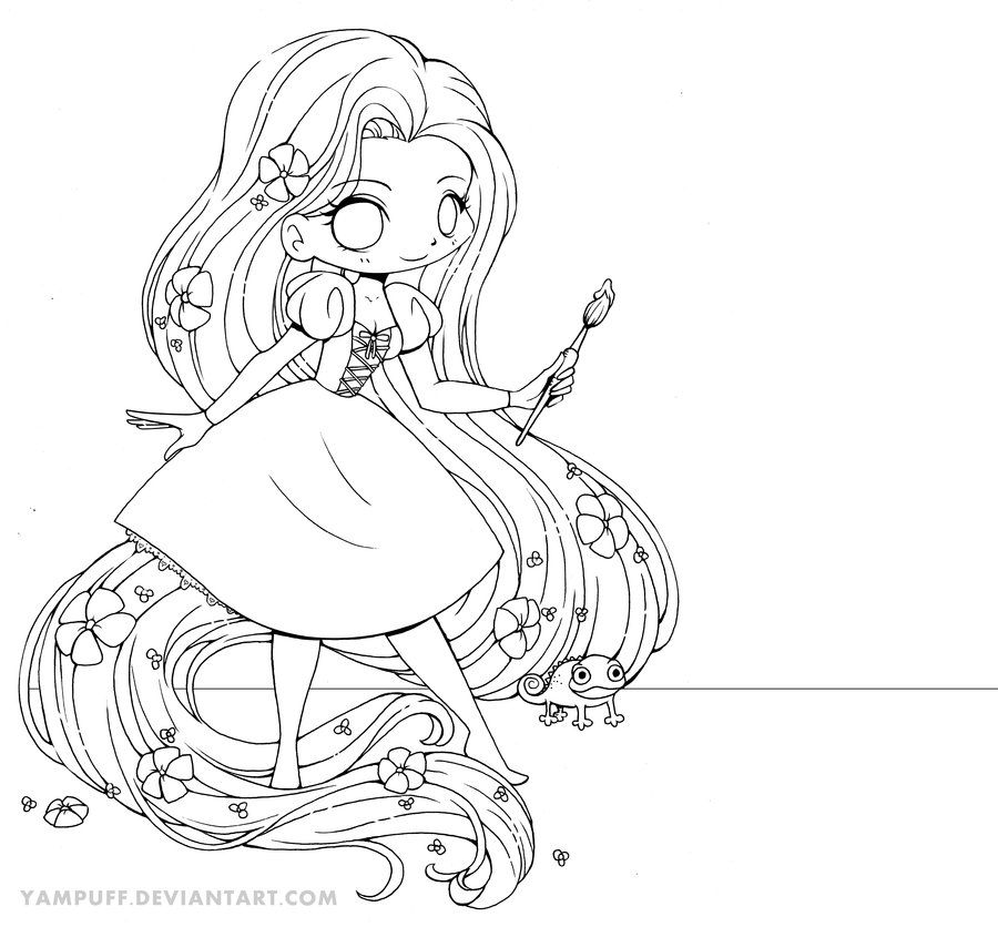 Rapunzel Chibi Line Art By Yampuff On Deviantart Chibi Coloring Pages Cute Coloring Pages Cartoon Coloring Pages